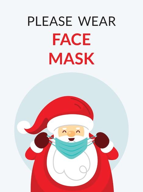 Babbo natale, si prega di indossare il concetto di maschera per il viso Vettore Premium
