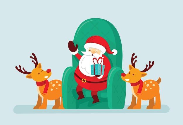 Babbo natale seduto su una sedia con le renne Vettore Premium