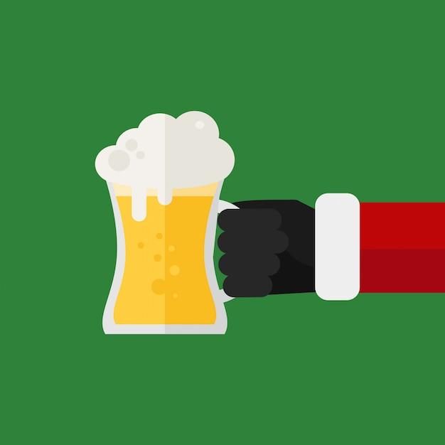 Bicchieri da birra tintinnanti di santa. festa di natale Vettore Premium