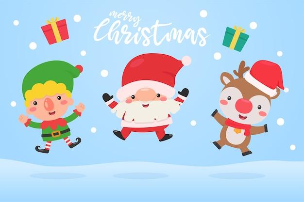Babbo natale, elfo e renna saltano nella neve durante l'inverno di natale. Vettore Premium