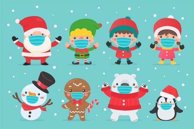 Elfo di babbo natale pupazzo di neve e personaggi per bambini che indossano maschere invernali e maschere per natale. Vettore Premium