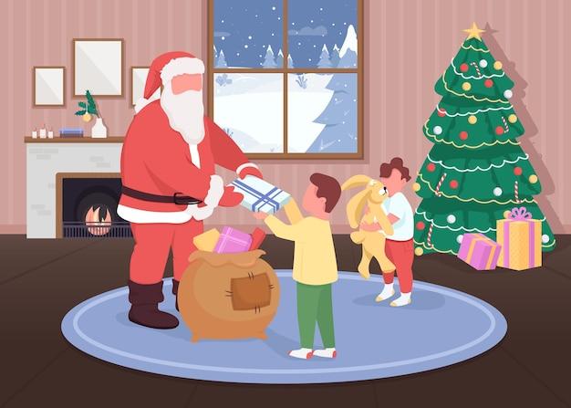 Babbo natale fa regali ai bambini in tinta unita. bambini felici che ricevono giocattoli. personaggi dei cartoni animati di babbo natale 2d con decorazioni tradizionali di festa sullo sfondo Vettore Premium