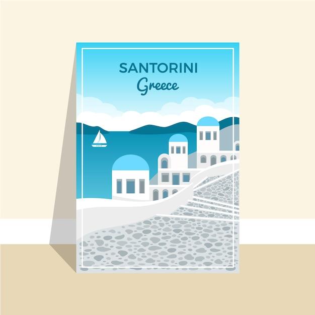 Modello del manifesto di vacanza di santorini grecia Vettore Premium