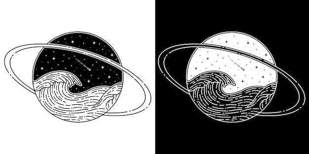 Saturnus con onda monoline Vettore Premium
