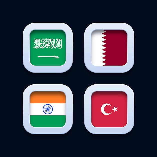 Arabia saudita, qatar, india e turchia flag 3d icone dei pulsanti Vettore Premium