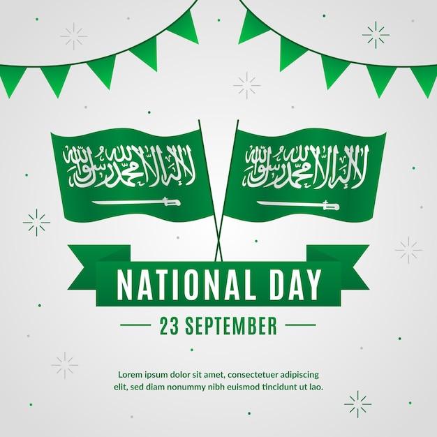 Concetto di festa nazionale saudita Vettore Premium