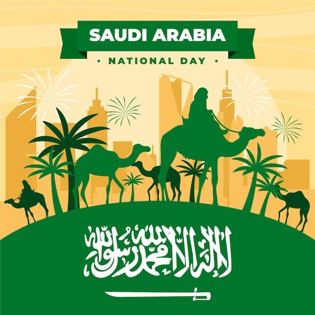 Evento della giornata nazionale saudita Vettore Premium