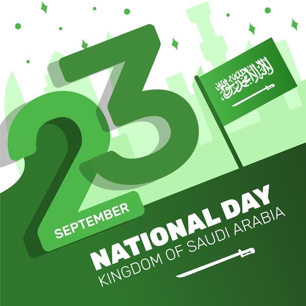 Festa nazionale saudita con data Vettore Premium