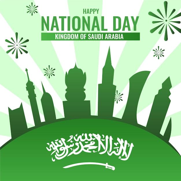 Festa nazionale saudita con fuochi d'artificio Vettore Premium