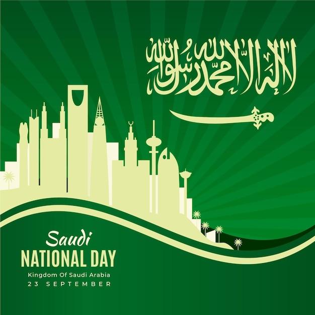 Festa nazionale saudita con skyline Vettore Premium
