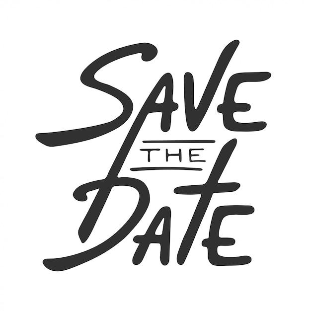 Salvare l'iscrizione del modello di scheda di invito data Vettore Premium