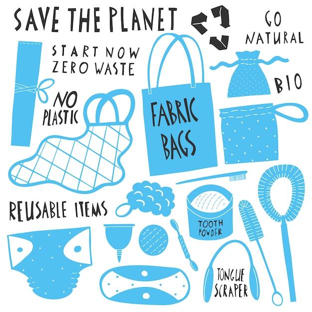 Salva il pianeta. raccolta di oggetti riutilizzabili zero waste. sacchetti della spesa in tessuto ecologico, spazzolino e spazzole naturali, coppetta mestruale, articoli per l'igiene riutilizzabili. illustrazioni disegnate a mano del fumetto Vettore Premium