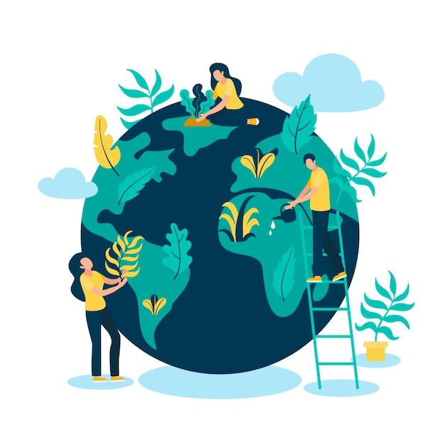 Salvare il concetto di pianeta con persone e globo Vettore Premium