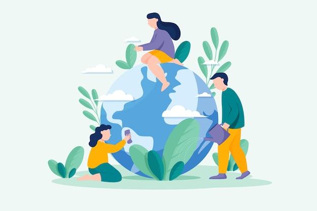 Salva il concetto del pianeta Vettore Premium