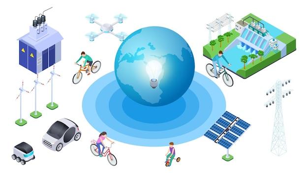 Salva il pianeta. fonti alternative isometriche, conservazione dell'ecologia. vector earth auto elettriche, stazione idroelettrica, drone. illustrazione ecologia pianeta, riciclare globo, ambiente di protezione Vettore Premium
