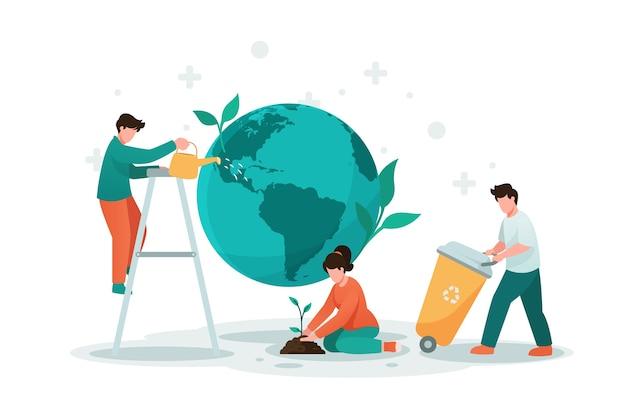 Salva il pianeta con le persone e la terra Vettore Premium