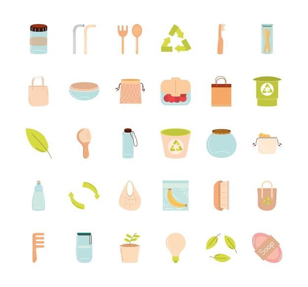 Salvare il pianeta rifiuti zero e il design della collezione di icone eco, riciclare ecologia e illustrazione a tema verde Vettore Premium