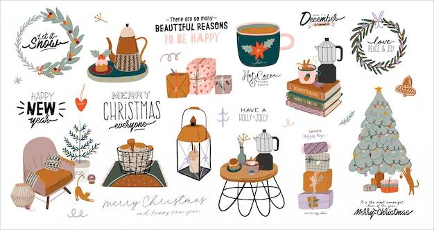 Interni scandinavi con decorazioni per la casa di dicembre. illustrazione carina e tipografia natalizia in stile hygge. Vettore Premium