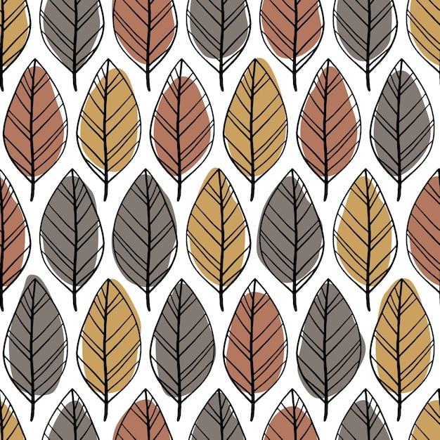 Modello senza cuciture minimalista scandinavo con foglie disegnate a mano. macchie astratte e semplici linee di doodle in una tavolozza pastello. sfondo per tessile, tessuto, involucro. Vettore Premium
