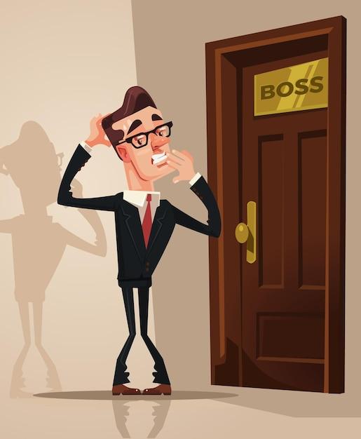 Uomo di impiegato spaventato spaventato impaurito entra nell'ufficio del capo illustrazione di cartone animato piatto vettoriale Vettore Premium