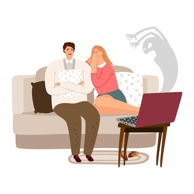 Illustrazione di film horror di sorveglianza spaventata della donna e dell'uomo Vettore Premium