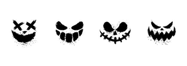 Facce spaventose della zucca o del fantasma di halloween. Vettore Premium