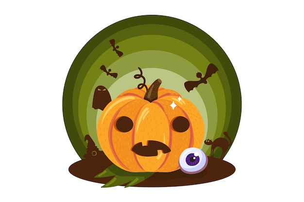 Zucca spaventosa con faccia buffa tradizionale vacanza di halloween Vettore Premium