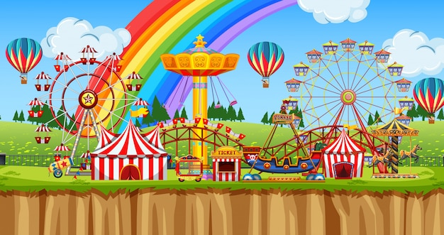 Scena con molte giostre nel parco divertimenti Vettore Premium