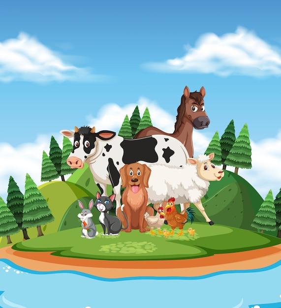 Scena con molti animali selvatici nel parco Vettore Premium