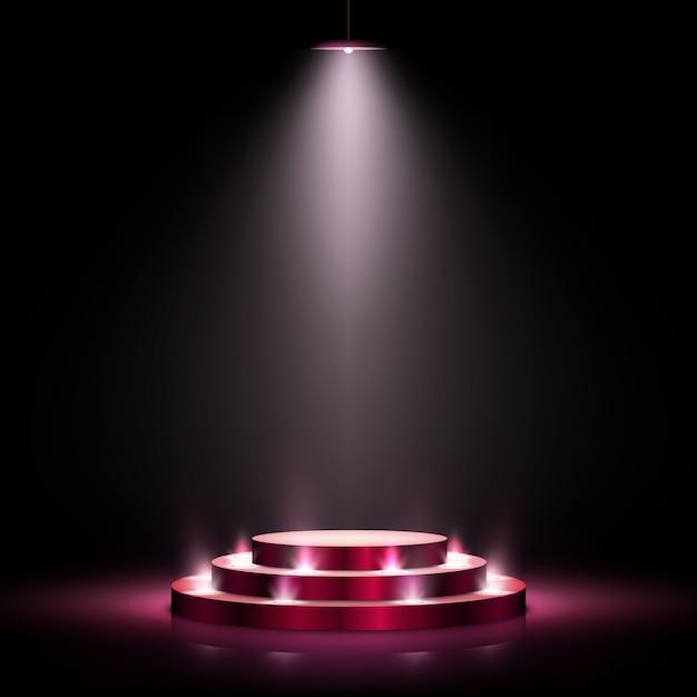 Scena con podio per la cerimonia di premiazione su sfondo scuro Vettore Premium
