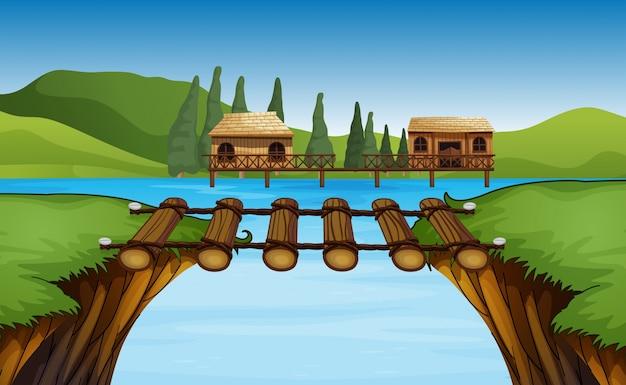 Scena con due capanne sul lago Vettore Premium