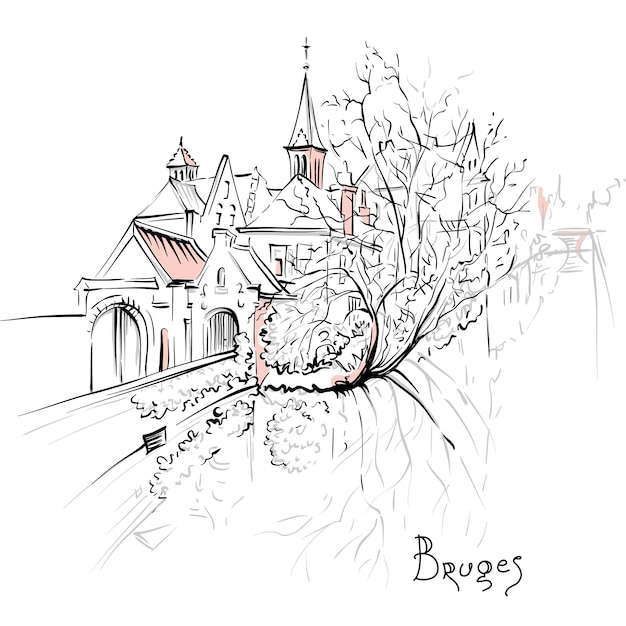 Schizzo scenico della città, vista del canale di bruges con belle case medievali e chiesa, belgio Vettore Premium