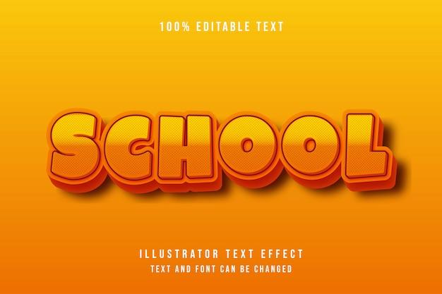 Scuola, 3d modificabile testo effetto arancione gradazione giallo puntini modello moderno ombra stile comico Vettore Premium