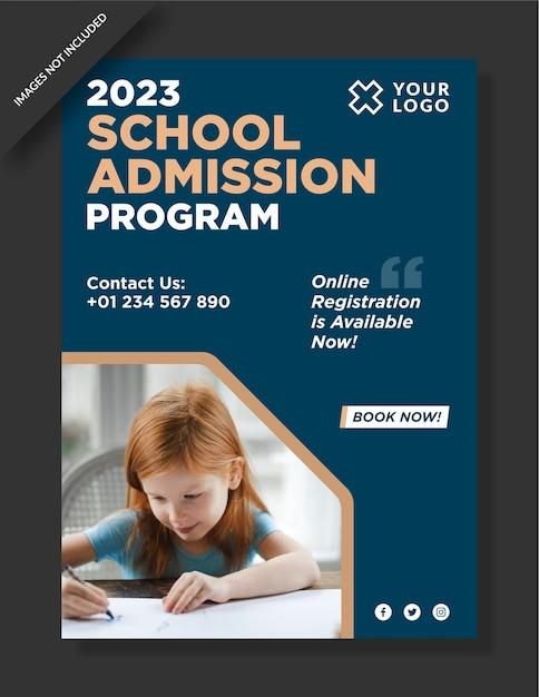 Design del poster di ammissione alla scuola Vettore Premium
