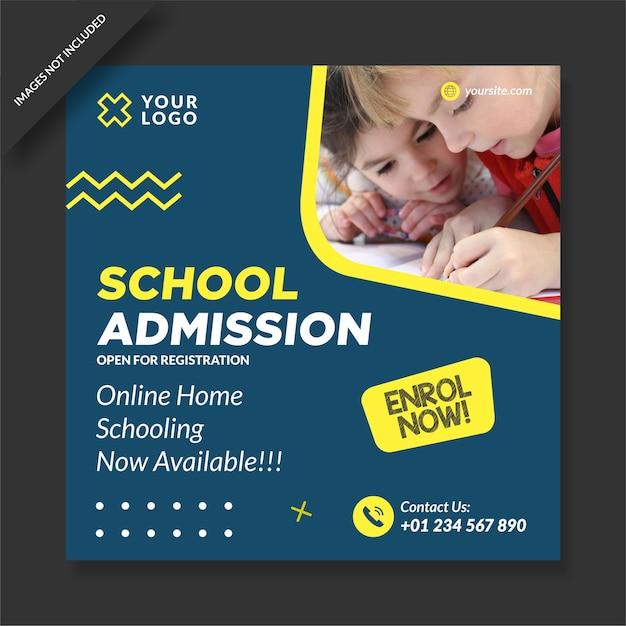 Programma di ammissione alla scuola social media post design vettoriale Vettore Premium