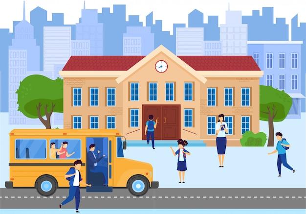 Scuolabus, costruzione e cortile con i bambini degli studenti, insegnante sull'illustrazione del fumetto del fondo di paesaggio urbano. Vettore Premium
