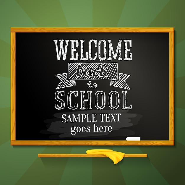 Lavagna scolastica con saluto bentornato a scuola e posto per il testo. vettore. Vettore Premium