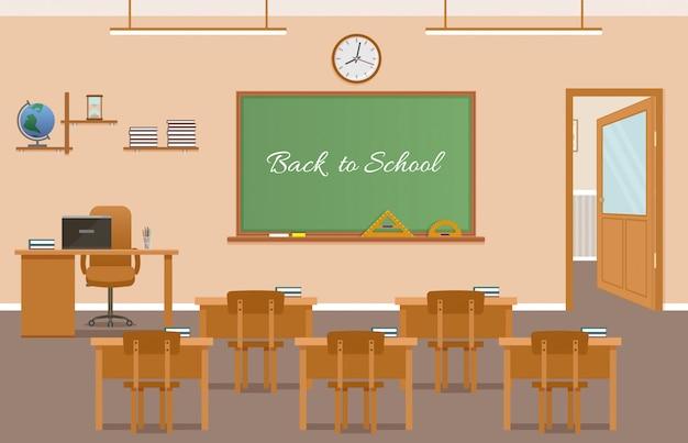 Interior design dell'aula della classe di scuola con testo sulla lavagna Vettore Premium