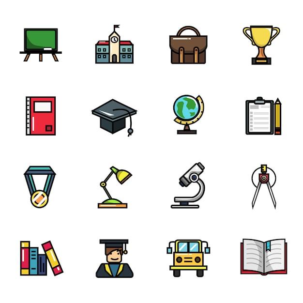 Insieme dell'icona di colore pieno degli elementi di istruzione universitaria della scuola Vettore Premium