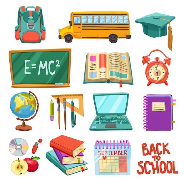 Collezione di icone di scuola e istruzione Vettore Premium