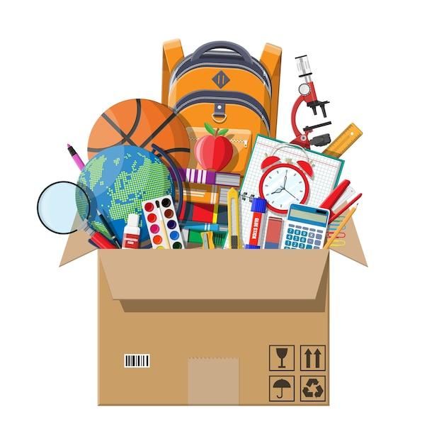 Articoli per la scuola in scatola di cartone. materiale scolastico diverso, cancelleria. Vettore Premium