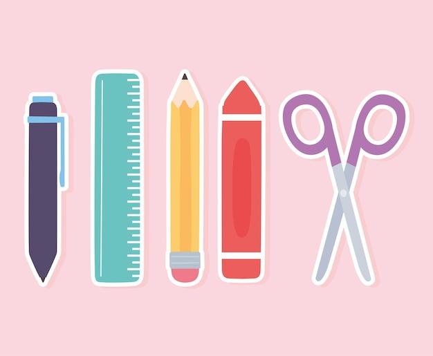 La penna del pastello delle forbici della matita del righello della scuola fornisce le icone Vettore Premium