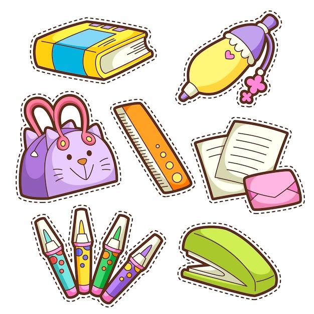 Set scuola. set di diversi articoli per la scuola, illustrazione. Vettore Premium