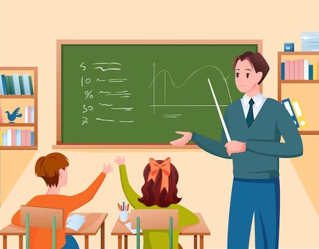 Insegnante di scuola e bambini studiano in classe bambini seduti ai banchi Vettore Premium