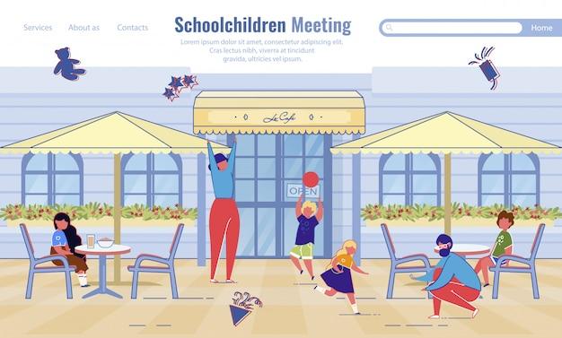 Pagina di destinazione del servizio di incontro degli scolari Vettore Premium