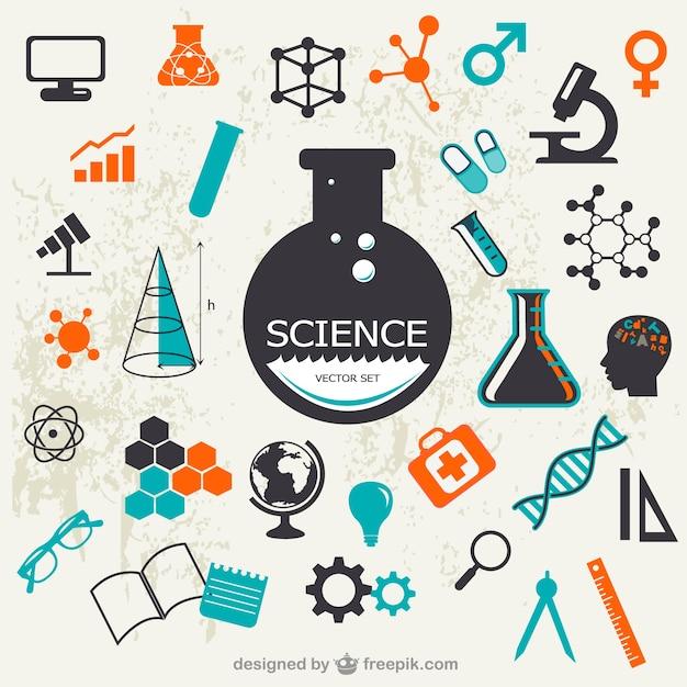 Set scienza vettore Vettore Premium