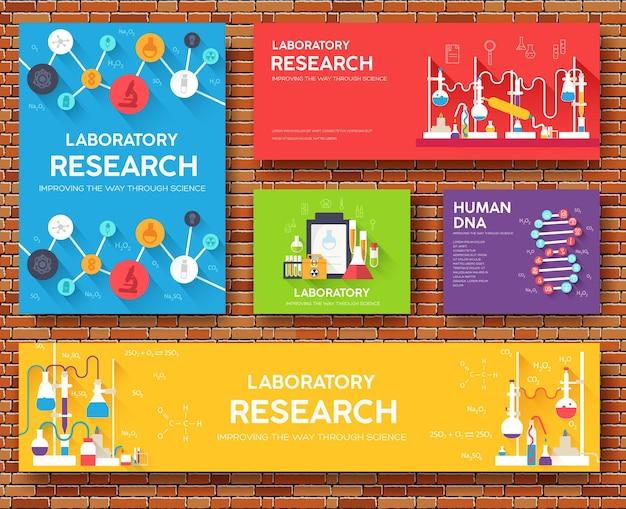 Set di schede informative scientifiche. modello di laboratorio di flyear, riviste, poster, libri, banner. Vettore Premium