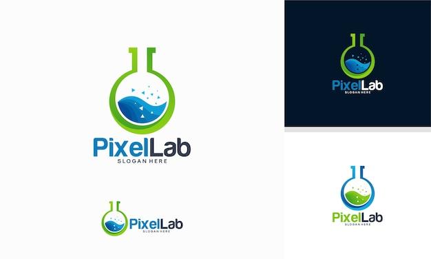 Modello di logo del laboratorio di scienze Vettore Premium