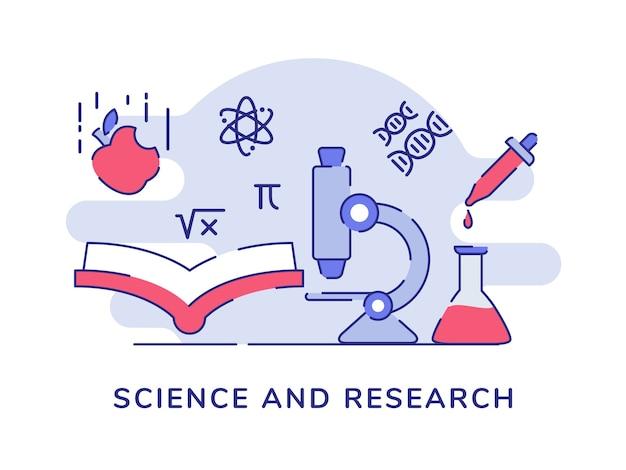 La scienza e la ricerca microscopio prenota atomo fisica chimica biologia sfondo bianco isolato Vettore Premium