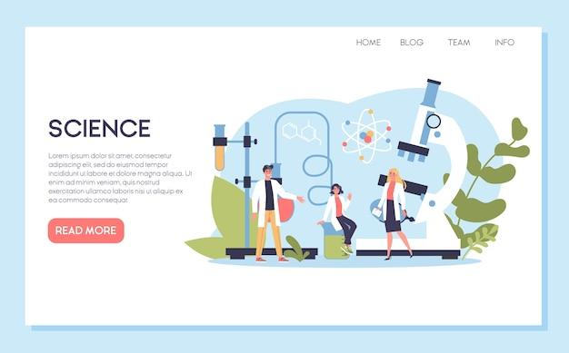 Banner web scienza o concetto di pagina di destinazione. idea di educazione e innovazione. studia biologia, chimica, medicina e altre materie all'università. Vettore Premium